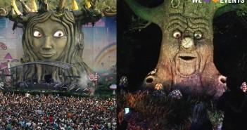 Het hoodpodium van Tomorrowland links, en de toverboom in de Efteling rechts.