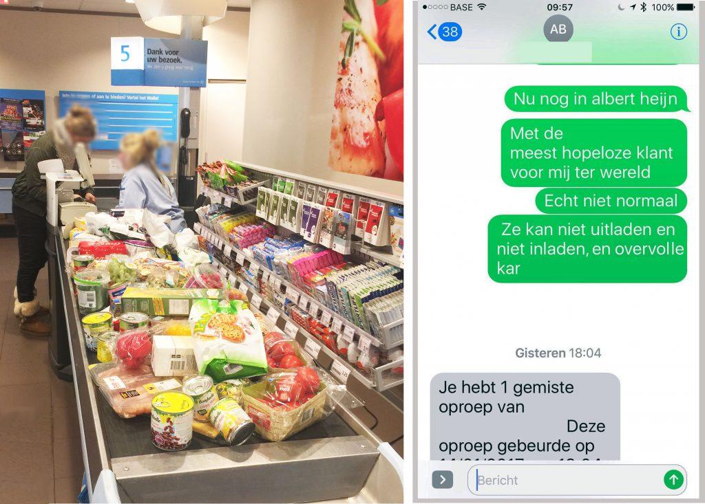 Gefrustreerde SMS vanuit de Albert Heijn, samen met de reden van frustratie: een wereldrecordpoging...
